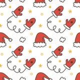 Kritzeln Sie, Hand gezeichneter Winterweihnachtsnahtloser Musterhintergrund mit Handschuhen und Sankt-Hüten Lizenzfreies Stockbild