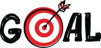 Kritzeln Sie Hand gezeichnetes Wort-Ziel mit Dartscheibeziel und Pfeilsymbol anstelle des Buchstaben O, der auf weißem Hintergrun stockbild