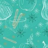 Kritzeln Sie Hintergrund mit Apfel, Birne und Schneeflocken, nahtloses patt Lizenzfreies Stockfoto