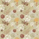 Kritzeln Sie Hintergrund mit Zitrusfrucht, Vogel und Schneeflocken, nahtloser Klaps Stockfoto
