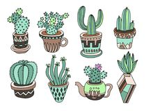 Kritzeln Sie Kakteen Sammlung, Handzeichnungssatz von verschiedenen Succulents Stockbilder