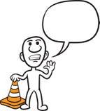 Kritzeln Sie kleine Person - stehend mit orange Verkehrskegel stock abbildung