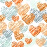 Kritzeln Sie lustiges nahtloses Muster mit den orange und blauen Herzen Vektor Lizenzfreie Stockbilder