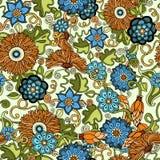 Kritzeln Sie nahtlosen Hintergrund im Vektor mit Gekritzeln, Blumen und Paisley Für Tapete Musterfüllen Lizenzfreie Stockfotografie