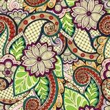 Kritzeln Sie nahtlosen Hintergrund im Vektor mit Gekritzeln, Blumen und Paisley Für Tapete Musterfüllen Lizenzfreie Stockfotos