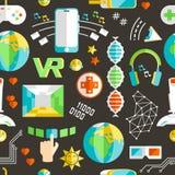 Kritzeln Sie nahtloses Muster des Vektors mit virtueller Realität und innovati Stockbild