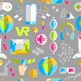 Kritzeln Sie nahtloses Muster des Vektors mit virtueller Realität und innovati Stockbilder