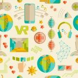 Kritzeln Sie nahtloses Muster des Vektors mit virtueller Realität und innovati Lizenzfreie Stockfotografie