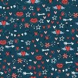 Kritzeln Sie nahtloses Muster mit Herzen, Sterne, Lippen, Pfeil-ADN-Blumen Stockfotos