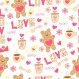 Kritzeln Sie nettes Muster mit Bären, Spielzeug, Blumen, Herzen, Buchstaben, Schale, Schlüssel und Vorhängeschloß Glücklicher St. Stockfoto