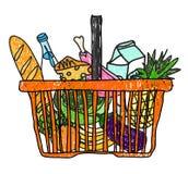 Kritzeln Sie Skizzenzeichnung mit einem Korb von Lebensmittelgeschäften vom Supermarkt Stockbild