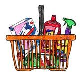 Kritzeln Sie Skizzenzeichnung mit einem Korb von Lebensmittelgeschäften vom Supermarkt Lizenzfreie Stockfotografie