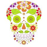 Kritzeln Sie stilisierten bunten Schädel, Handzeichnung Blumenschattenbild, Vektorillustration auf Lager Stockfoto