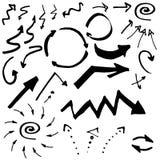 Kritzeln Sie Tinte, Hand gezeichnete Zeiger, Pfeile und andere Zeichen Regenbogen und Wolke auf dem blauen Himmel vektor abbildung