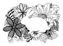 Kritzeln Sie Typografie fröhliche Ostern mit Häschen und Eiern für Kartendesign, Fahne Stockfoto
