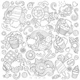 Kritzeln Sie Vektorillustration, abstrakten Hintergrund, Beschaffenheit, Muster, Tapete, Sammlung Bonbons, Nachtische, Eiscreme Stockfoto