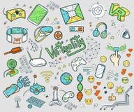 Kritzeln Sie Vektorsammlung virtuelle Realität und innovatives techn stock abbildung