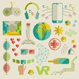 Kritzeln Sie Vektorsammlung virtuelle Realität und innovatives techn Lizenzfreie Stockfotos