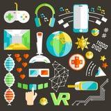 Kritzeln Sie Vektorsammlung virtuelle Realität und innovatives techn lizenzfreie abbildung