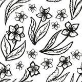 Kritzelnder nahtloser Blumenhintergrund in der Tätowierung Stockfotografie