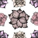 Kritzelndes nahtloses Blumenmuster in der Tätowierungsart Stockbilder
