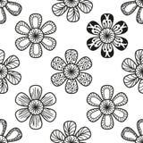 Kritzelndes nahtloses Blumenmuster in der Tätowierungsart Lizenzfreie Stockfotografie