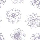 Kritzelndes nahtloses Blumenmuster in der Tätowierungsart Lizenzfreies Stockfoto