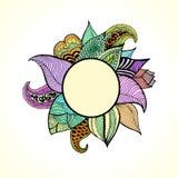 Kritzelt stilvolles Blumenmuster für Dekoration mit Platz für Ihren Text Lizenzfreies Stockfoto