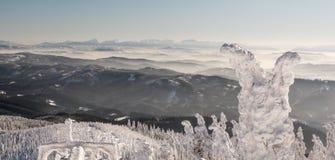 Krivanska Mala Fatra mountain range in Slovakia from Lysa hora hill in Moravskoslezske Beskydy mountains in Czech republic during stock image