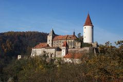 Krivoklat castle in autumn Stock Photos