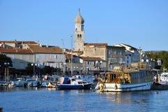 Krk市,克罗地亚港口  免版税库存图片