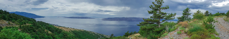 Krk海岛全景  库存照片