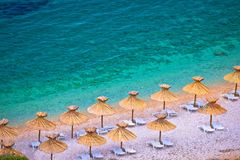 Krk海滩海岛在Stara巴斯卡鸟瞰图的 图库摄影