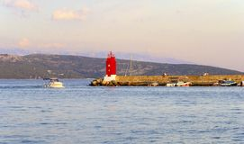 Krk镇灯塔,克罗地亚 免版税库存图片