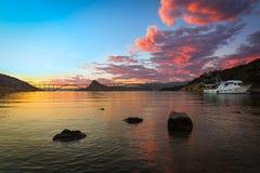 Krk bridge at dusk with colorful sky, Croatia Royalty Free Stock Image