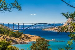 The Krk Bridge. Is a 1430 m long arch bridge connecting the Croatian island of Krk to the mainland royalty free stock image