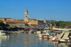 Krk city. In Croatia, the harbour and town royalty free stock image