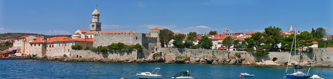Krk city panorama. Panorama of the old town Krk, the historical seat of the Roman Catholic Diocese. Island Krk, Croatia Stock Photos