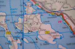 Krk island on map. Close up shot of Krk Island Croatia on a map stock images