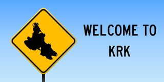 Krk map on road sign. Wide poster with Krk island map on yellow rhomb road sign. Vector illustration vector illustration