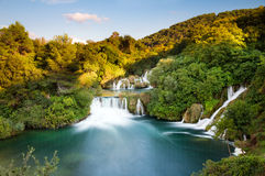 Krka充满活力的瀑布 库存照片
