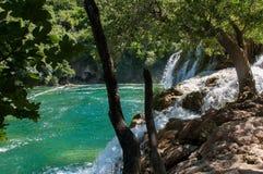 Krka国家公园位于克罗地亚并且为它的七瀑布是知名的 免版税库存图片