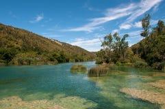 Krka国家公园位于克罗地亚并且为它的七瀑布是知名的 免版税图库摄影