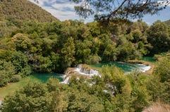 Krka国家公园位于克罗地亚并且为它的七瀑布是知名的 免版税库存照片