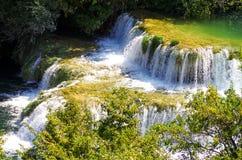 Krka国家公园在夏天热期间的克罗地亚 免版税库存图片