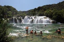 krka国家公园瀑布 图库摄影
