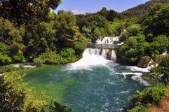 Krka河和瀑布 库存照片