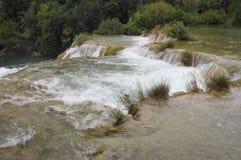 Krka河级联横向,克罗地亚 免版税图库摄影