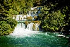 Krka瀑布,克罗地亚Krka国家公园 免版税图库摄影
