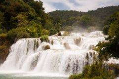 美丽的瀑布在国家公园Krka,克罗地亚 免版税库存图片